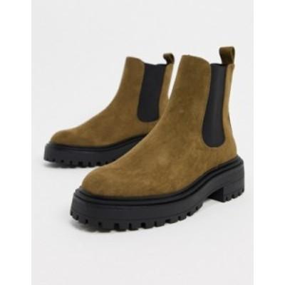 エイソス レディース ブーツ・レインブーツ シューズ ASOS DESIGN Angelina chunky chelsea boots in khaki Khaki micro