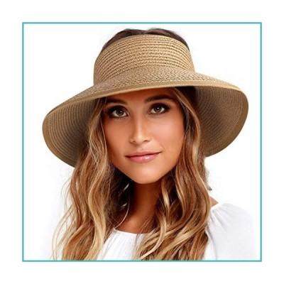 FURTALK Roll Up Sun Visor Wide Brim Straw Hats for Women Ponytail Summer Beach Hat UV UPF Travel Foldable Packable (One Size, Pure Khaki)【