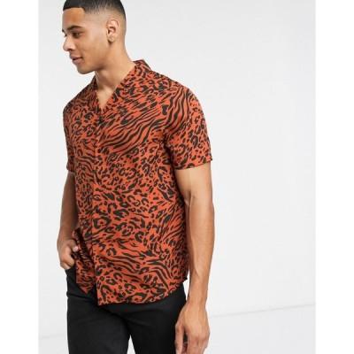アナザーインフルエンス ワークシャツ メンズ Another Influence revere collar shirt in crepe animalRRP  エイソス ASOS