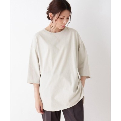 SHOO・LA・RUE(シューラルー) 【M-LL】空紡糸七分袖バックスリットプルオーバー