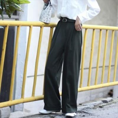 パンツ ワイドパンツ フルレングス ハイウエスト ゆるシルエット リラックス メンズライク 無地 シンプル ダブル ベルト グレー グリーン