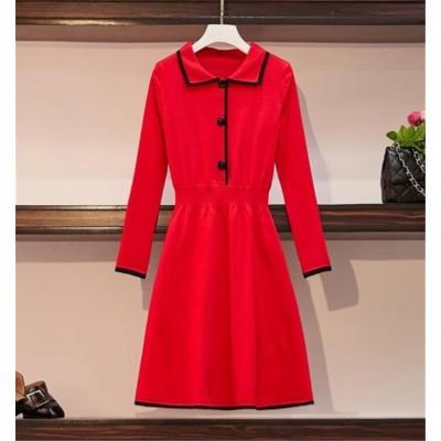 超人気◆ins話題 韓国ファッション おしゃれな 気質 トレンド 大人気 新品 大きいサイズ スリムフィット 長袖 ラペル セーター ニットワンピース