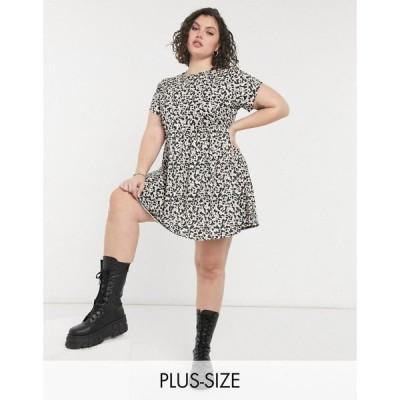 ロココ Rokoko Plus レディース ワンピース ワンピース・ドレス short sleeve mini smock dress in cow print