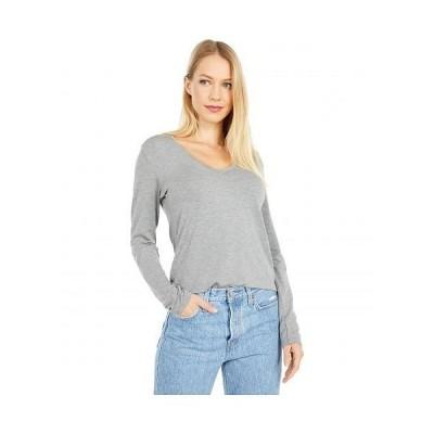 Majestic Filatures レディース 女性用 ファッション Tシャツ Long Sleeve Flat Edge V-Neck Tee - Gris Chine