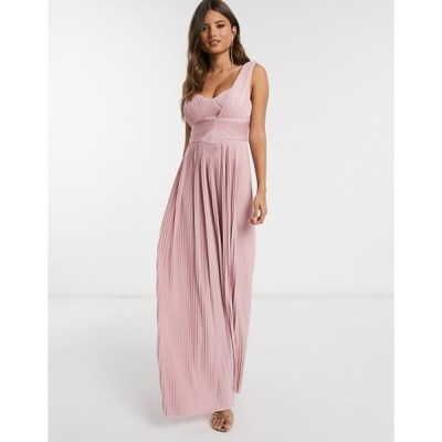 エイソス レディース ワンピース トップス ASOS DESIGN Premium one shoulder pleated panel maxi dress in soft pink