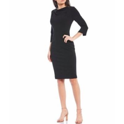 カルバンクライン レディース ワンピース トップス Cowl Neck 3/4 Sleeve Crepe Sheath Dress Black