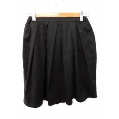 【中古】アーバンリサーチ URBAN RESEARCH スカート フレア ひざ丈 ウエストゴム F 黒 ブラック レディース