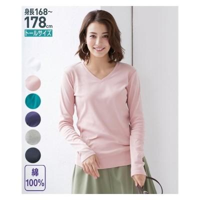 Tシャツ カットソー トールサイズ レディース 綿100% Vネック M/L ニッセン nissen