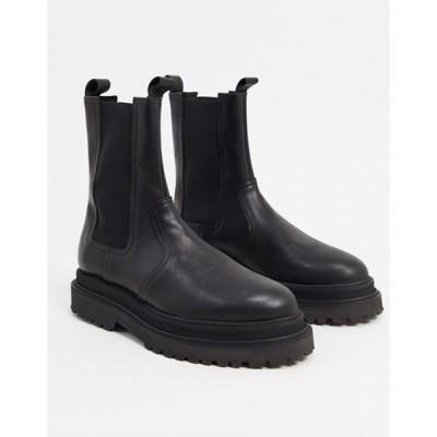 エイソス メンズ ブーツ・レインブーツ シューズ ASOS DESIGN high chelsea calf boots on stacked sole in black high shine leather