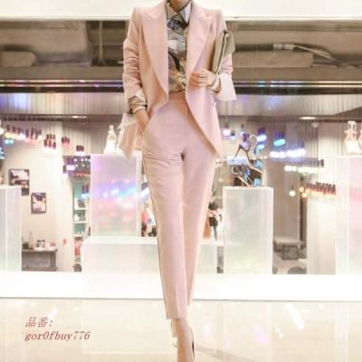 レディース アンクル丈 + サイズ クロップドパンツ S 長袖 おしゃれ お出かけ パンツ L XL お呼ばれ 2点セット M セットアップ ジャケット ピンク