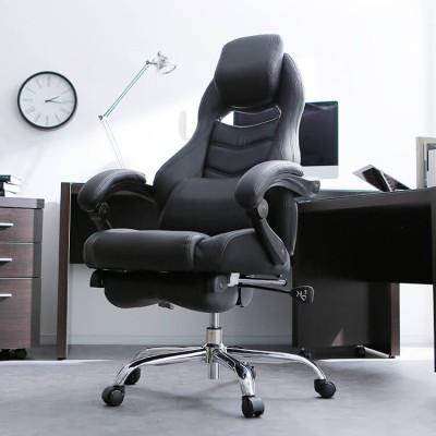 [幅68] オフィスチェア (ブラック/ブラックホワイト) 170度リクライニング フットレスト搭載