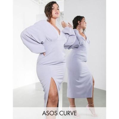 エイソス ドレス 大きいサイズ レディース ASOS EDITION Curve midi pencil dress with volume sleeves エイソス ASOS グレー 灰色