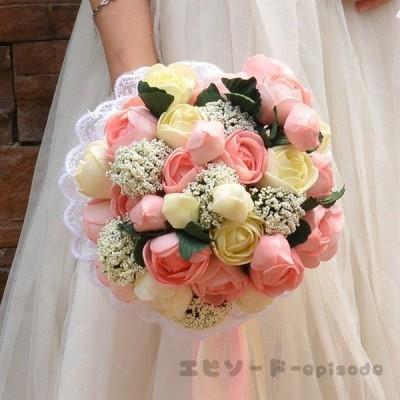 ウエディングブーケ ブートニア 安い 結婚式 ブーケ 花嫁 アレンジメント 披露宴 ウェディング用 造花 ブライダルブーケ 手作り