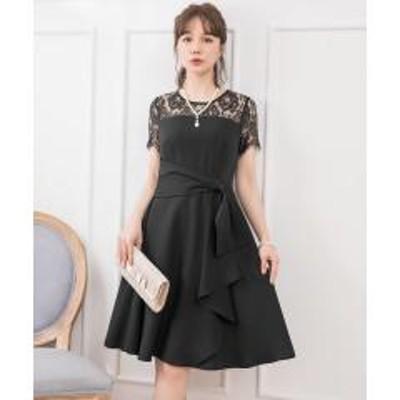 DRESS STAR(ドレス スター)レーススリーブサイドドレープドレス【お取り寄せ商品】
