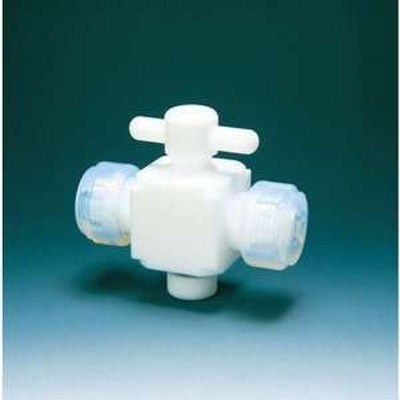 【送料無料】フロンケミカル フッ素樹脂(PTFE)二方バルブ接続10mm(品番:NR0028-003)『3915395』