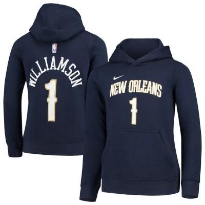 """ナイキ キッズ ユース パーカー """"Zion Williamson"""" New Orleans Pelicans Nike Youth Name & Number Pullover Hoodie ザイオン フーディー Navy"""