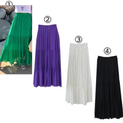 ロングスカート フレア 無地 紫 黒 白 緑 レディース