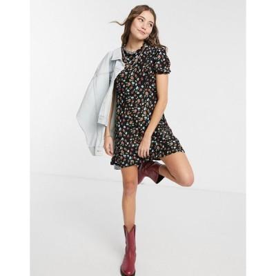 ミスセルフリッジ ミディドレス レディース Miss Selfridge high neck mini tea dress in black floral エイソス ASOS ブラック 黒