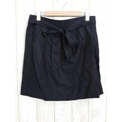 【中古】未使用 タグ付 新品 アンタイトル UNTITLED スカート タック ウエストリボン ひざ丈 42 ブラック 黒 /TH13 レディース