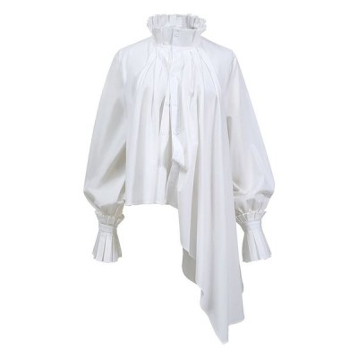 レディースブラウス シャツ 長袖 スタンドカラー 変形 個性的 シンプルデザイン モード レトロ調 ホワイト ブラックフリーサイズ