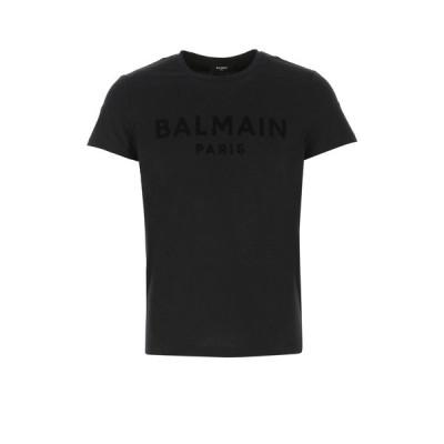 バルマン メンズ Tシャツ トップス Balmain Flocked Logo Crewneck T-Shirt -