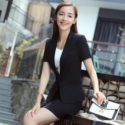 プロのドレススーツ女性新しいファッション夏ノーアイアンスーツジャケット女性黒半袖スーツ作業