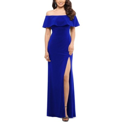 エックススケープ XSCAPE レディース パーティードレス ワンピース・ドレス Petite Ruffled Off-The-Shoulder Gown Electric Blue
