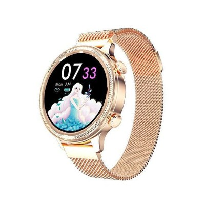 Rose Gold Smart Watch for Ladies, Novel/Stylish/Beautiful Smartwatch Bluetooth Fitness Tracker for Ladies with IP68 Waterproof, Female Perio