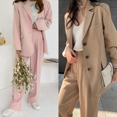 パンツスーツ シングルブレスト レディース 韓国 ファッション オーバーサイズ ビジネス 卒業式 スーツ