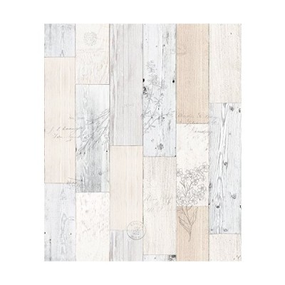 (未使用並行輸入)DIY リフォームシール 壁紙 ホワイトパネルウッド ハーブ 約50cm巾×3m