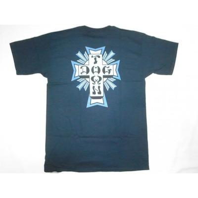 DOGTOWN ドッグタウン DTS CROSS LOGO #1 定番カラークロスロゴ Tシャツ ネイビー 紺x青