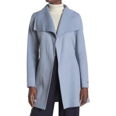 タハリ レディース ジャケット&ブルゾン アウター Ella Wing Collar Tie Waist Wool Blend Coat PALEBLUE