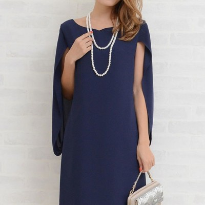 GeeRA ケープ風ドレープドレス ブルー ~7号 レディース