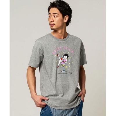 【シルバーバレット】 Betty Boopカクテルグラスベティプリントクルーネック半袖Tシャツ メンズ グレー LL SILVER BULLET