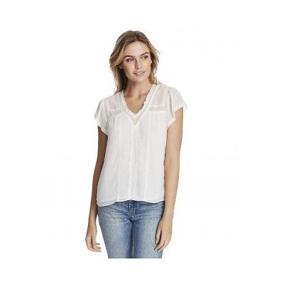 1.STATE ワンステート レディース 女性用 ファッション ブラウス Short Sleeve V-Neck Blouse with Lace Trim Detail - Soft Ecru