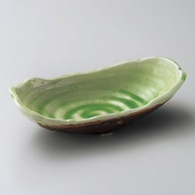 業務用食器 深緑(ヒワ貫入)舟盛長鉢 19.6×9.3×5.3cm 向付