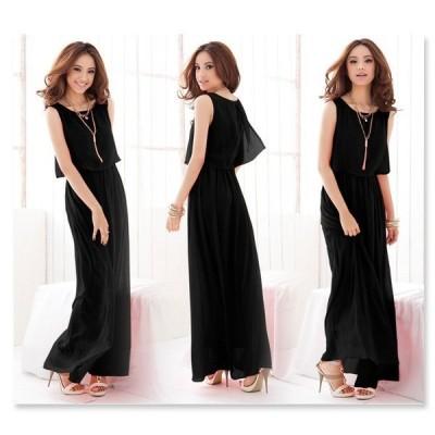 シフォンワンピース ロングドレス 結婚式 マキシ丈 大きいサイズ 安い 黒 ロングワンピース 送料無料 クリスマスプレゼント