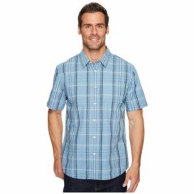クイックシルバー 半袖シャツ Acotz Lines Short Sleeve Shirt Blue Shadow