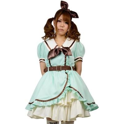 8mm マカロンカラー アシメフレアー ツーピース ドレス レディースサイズ Lサイズ チョコミント