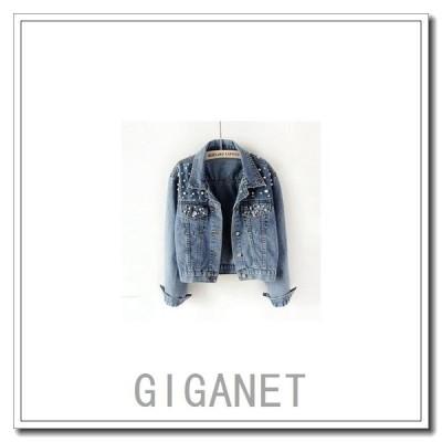 デニムコートレディースデニムジャケットアウターGジャンブルゾンカジュアルパール付き長袖ポケットありジージャンファッションおし