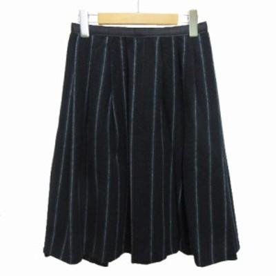 【中古】ディアプレ DIAPRE スカート ひざ丈 ストライプ 38 紺 ネイビー レディース