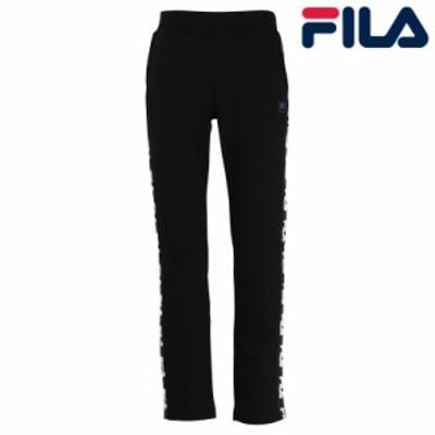FILA フィラ 日本正規品 フィラ メンズ ロングパンツ 裏起毛 暖かい 無地 ロゴ ベーシック 定番 綿 ポリエステル ポリウレタン ブラック