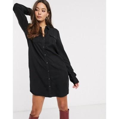 ヴェロモーダ ミディドレス レディース Vero Moda shirt dress in black エイソス ASOS ブラック 黒