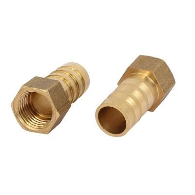 uxcell ホースバーブ継手 カプラコネクタ 真鍮材質 ホース外径12mm めねじ径11.4mm ストレートタイプ 2個入り