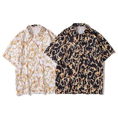 港風 レトロ バナナ プリント 半袖 シャツ 男性 夏 ハワイ 風 ファッション ゆったり 半袖 学生服
