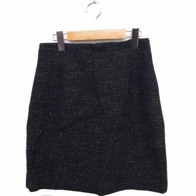 【中古】エムプルミエ M-Premier スカート 総柄 台形 ひざ丈 コットン 綿 38 ブラック 黒 /FT35 レディース 【ベクトル 古着】
