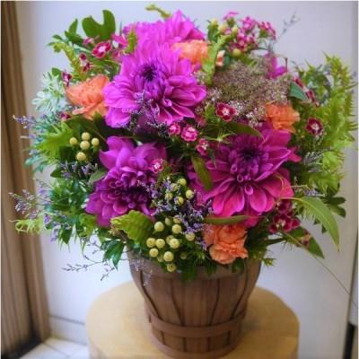 生花ダリアの華やかアレンジ*花 ギフト 開店祝 誕生日 送別 歓送迎会 送別 卒業 結婚 お祝い 記念日 プレゼント 母の日 父の日 敬老の日
