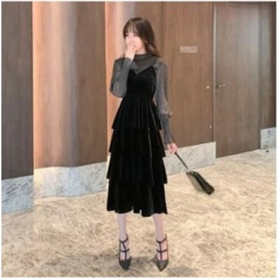 予約商品 大きいサイズ レディース 重ね着風 キャミワンピース ラメ ベロア ドレスオーバーサイズ 韓国ファッション ビッグサイズ otona