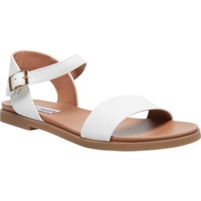 スティーブ マデン レディース サンダル シューズ Dina Ankle Strap Sandal White Leather