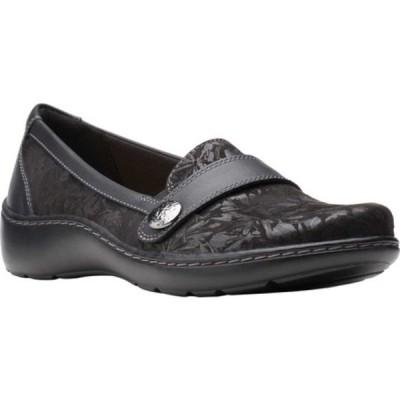 クラークス レディース スリッポン・ローファー シューズ Cora Daisy Loafer Black Textile/Leather